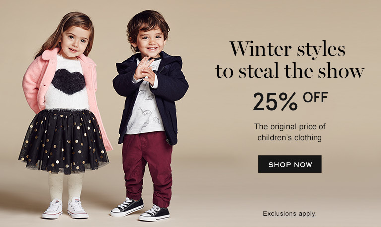 Winter styles to steal the show. 25% off the original price of children's clothing . Shop Now