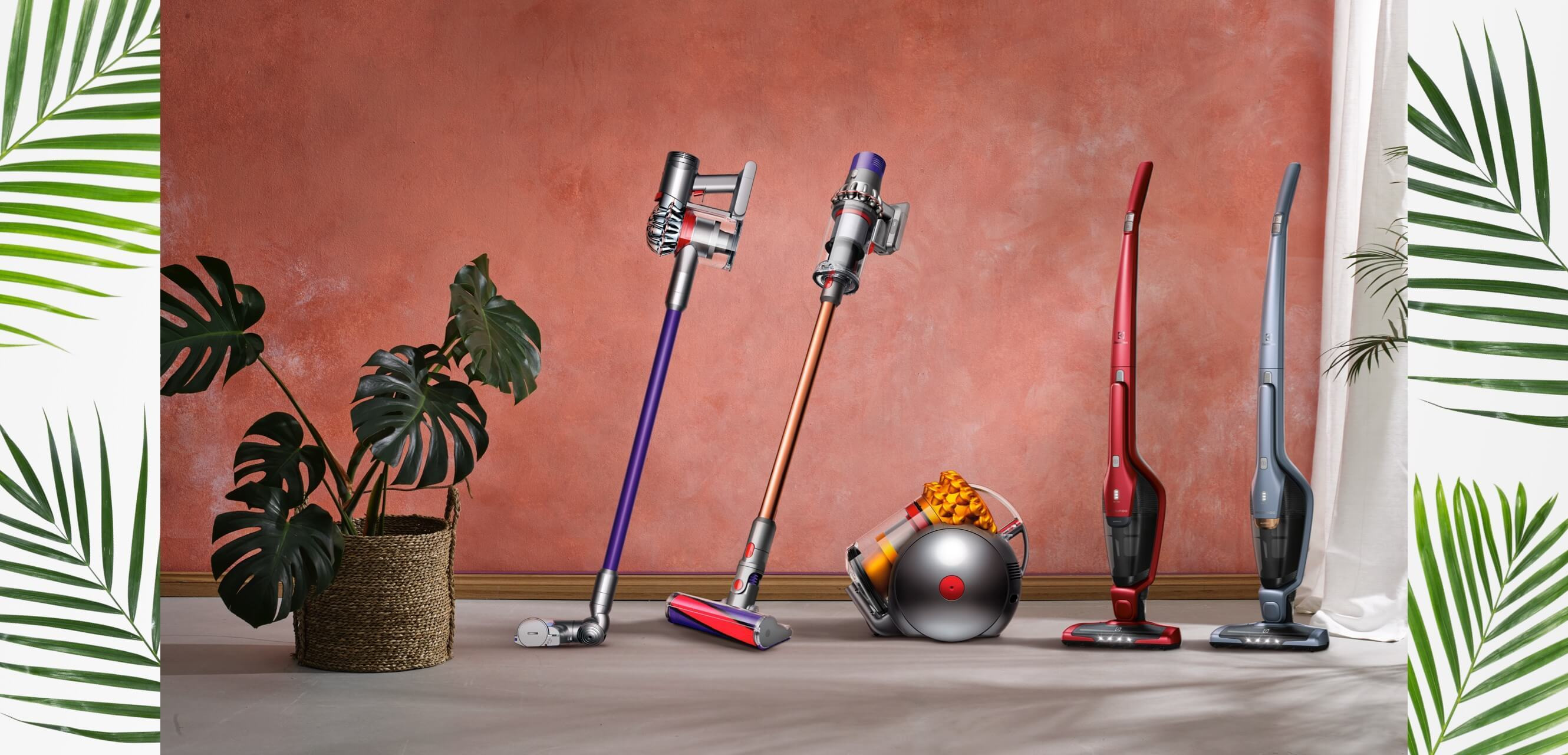 Line-up of cordless vacuum cleaners