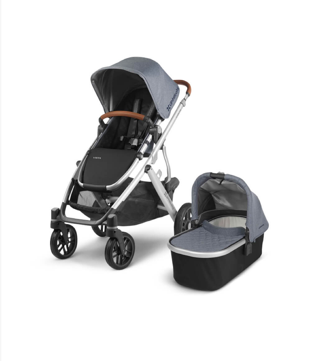 Modern baby stroller with matching cradle