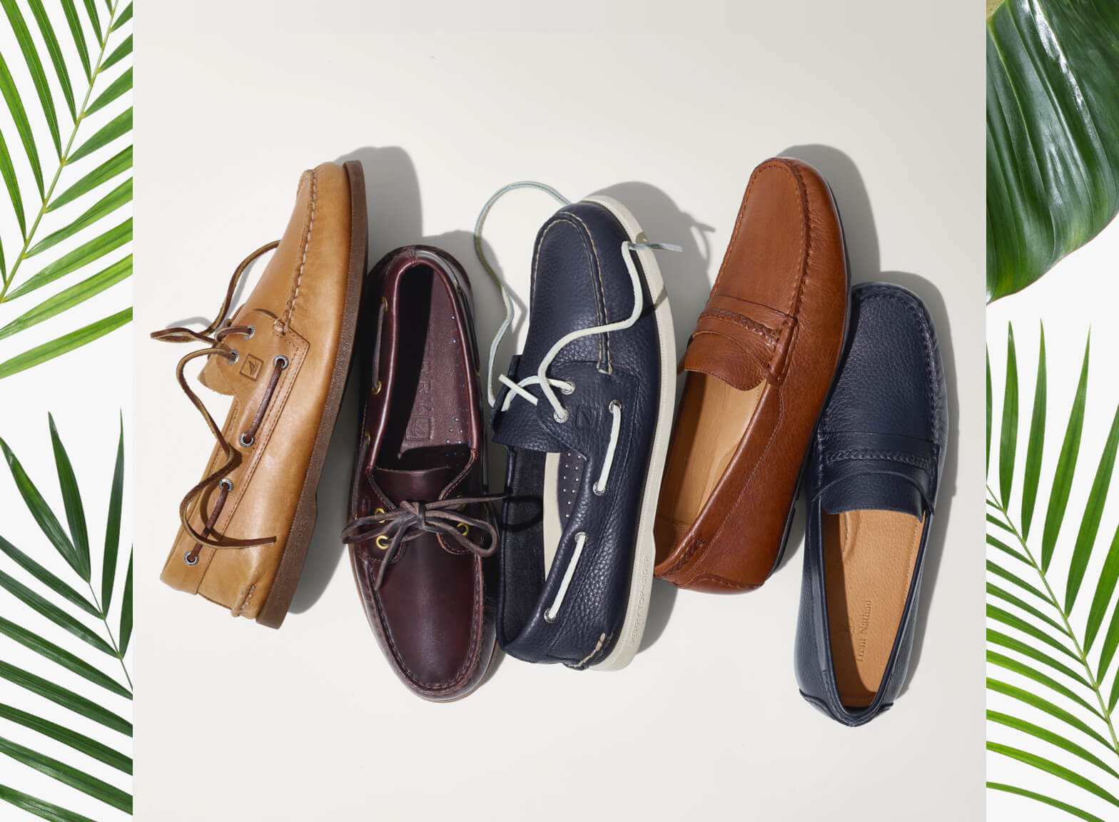 Collecton of leather boat shoes