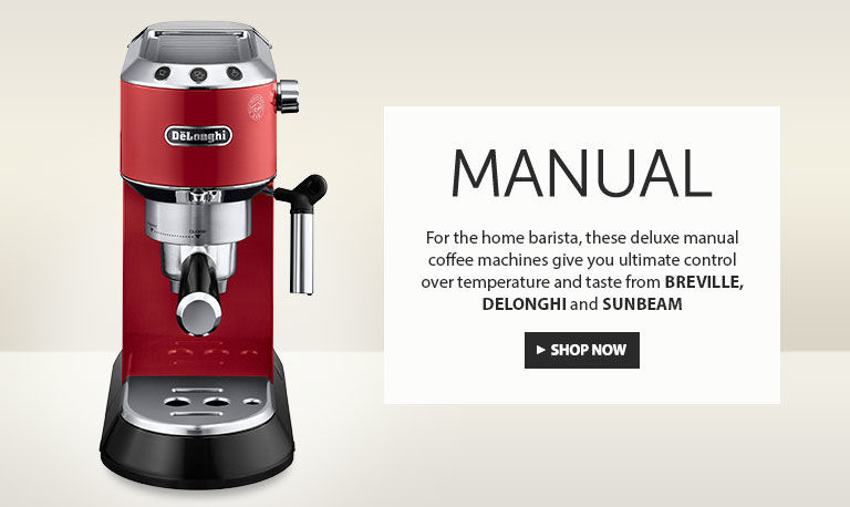 Manual. For the home barista, these deluxe manual coffee machines give you ultimate control over temperature and taste from Breville, Delonghi, and Sunbeam