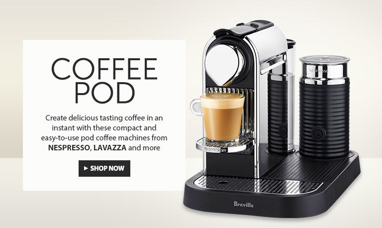 Coffee Pod. Create delicious tasting coffee in an instant with these compact and easy to use capsule coffee machines from Nespresso Lavazza and more