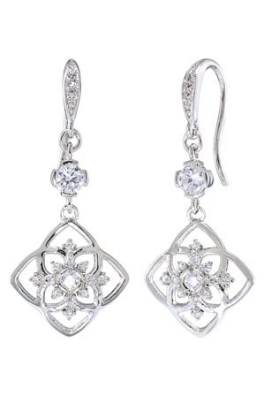 Carolee - Floral Lace Silvertone Double Drop Pierced Earrings