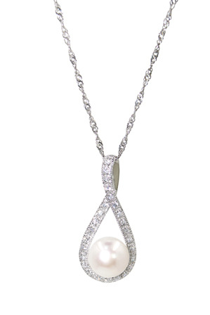 Pure Elements - M0759AN-002 Silver CZ Pearl Infinity Pendant