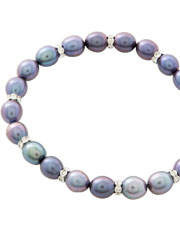 Pure Elements - 7-8mm Freshwater Pearls and Crystal Roundels Stretch Bracelet