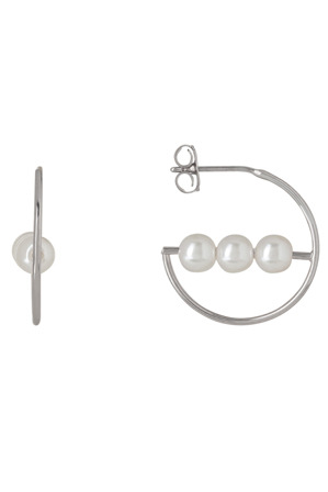 Gregory Ladner - GSE1301 Rhodium-tone half circle with three faux pearls earrings