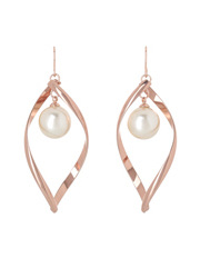 Gregory Ladner - GER9308M Rose Gold-tone twisted oval with single faux pearl drop earrings