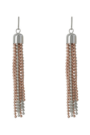 Gregory Ladner - GER9632M Rhodium-tone/Rose Gold-tone ball chain tassel on hook fitting earrings