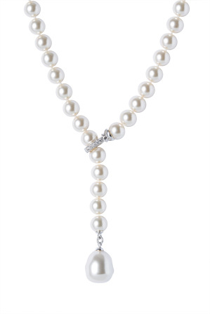 Gregory Ladner - N15416 Pearl Style Necklace with Single Drop and CZ Catch at the Front
