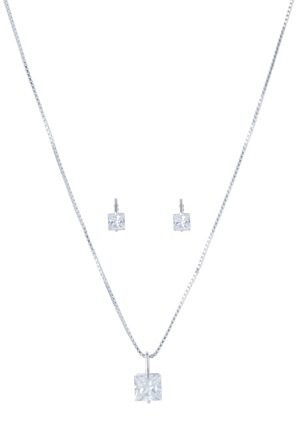 Gregory Ladner - JE1058+P Boxed Set of CZ Studs and Necklet in Rhodium