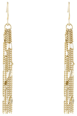 Trent Nathan - 222940 Stamped Chains Tassel Fish Hook Earrings