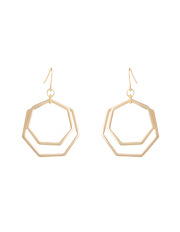 Trent Nathan - TNAPS17ER48 Double Hexagon Ring Fish Hook Earrings