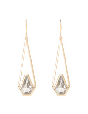 Trent Nathan - TNAPS17ER55 Abstract Stone Long Angular Drop Fish Hook Earrings