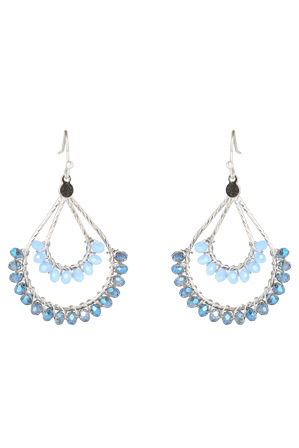 Trent Nathan - TNJHS17ER104 Faceted Bead On Dual Level Teardrop Fish Hook Earrings in Silver