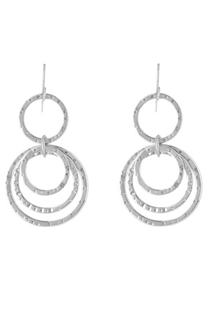 Trent Nathan - TNHSS17ER118 Multi Beaten Ring Fish Hook Earrings