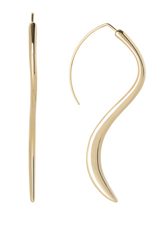 Wayne Cooper - WCHSW17ER20 Sculptural Metal Long Wave Fish Hook Earrings