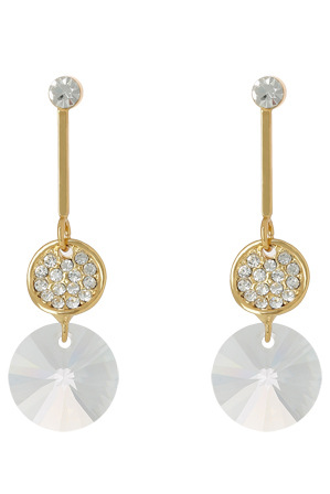 Trent Nathan - TN3EW17ER77 Modern Crystal Pave Disc And Hanging Crystal On Bar Drop Post Earrings