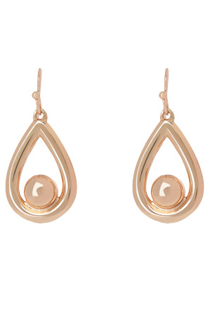 Basque - A67406BA/ROSE Metal Mania Solid Teardrop Ball Hook Earring