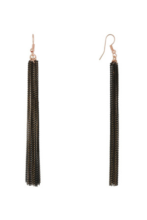 Basque - A69074BA Luxe  Multi Chain Tassel Long Hook Earring