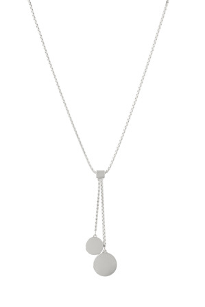 Basque - A66311BA Core Minimalist Two Disc Lariat in Rhodium