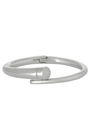 Wayne Cooper - WCGES17BG77 Asymmetric Streamline Hinged Bangle in Rhodium Tone