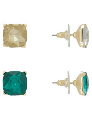 Wayne Cooper - Large Crystal Stud Pack Emerald/Crystal Gold