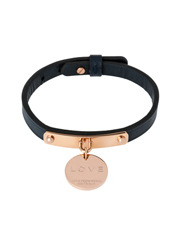 Love From Venus - LNBRGB Navy Leather Love Disc Bracelet in Rose Gold