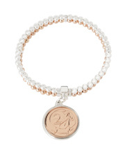 Von Treskow - PCB02 Sterling Silver Double Row Stretch Bracelet with Two Cent Coin