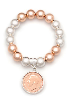 Von Treskow - Two Tone Silver and Rose Gold Ball Bracelet