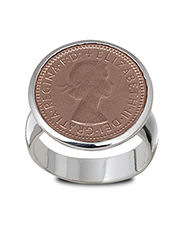 Von Treskow - Sterling Silver & Rose Gold Plated 6 Pence Coin Ring