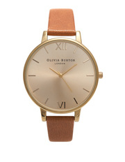 Olivia Burton - Big Dial Tan & Gold Watch