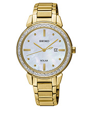 Gold Solar Crystal Set Dress Watch