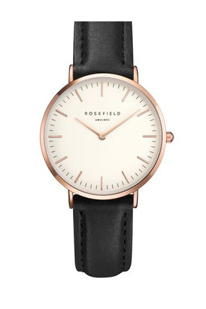 Rosefield - TWBLR-T53 33MM Tribeca White Dial with Rosegold Black Leather