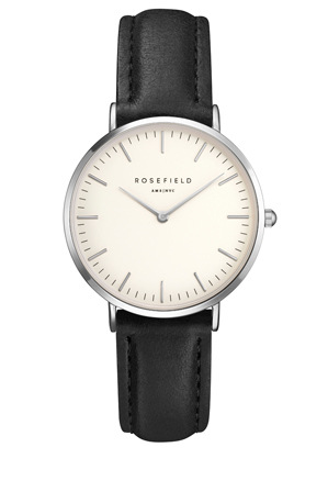 Rosefield - TWBLS-T54 33MM Tribeca White Dial with Silver Black Leather