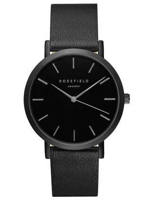 Rosefield - GBBB-G38 38MM Gramercy Black Dial Black Leather