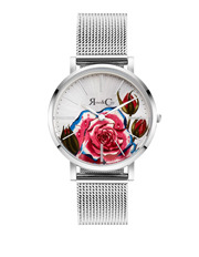 Rose & Coy - RCAM0202 Art Series Pink Rose Silver  Watch