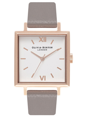 Olivia Burton - OB16SS21 Big Dial Square Dials  London Grey And Rose Gold Watch