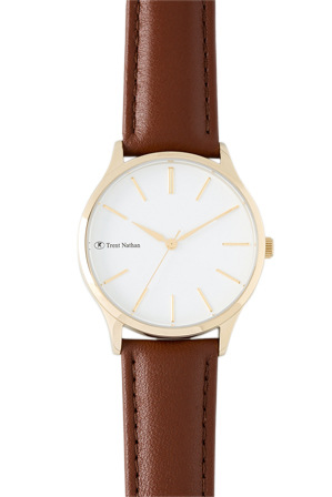 Trent Nathan - TN1609L2 Gold Case White Dial Brown Strap Watch