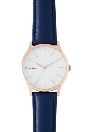 Trent Nathan - TN1609L1 Rose Case White Dial Navy Strap Watch