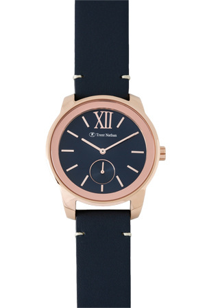 Trent Nathan - TN1607G3 Rose Gold Blue Leather Strap Watch