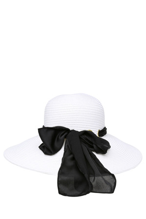 Basque - Wide Brim Hat with Scarf Trim