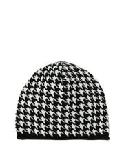 Piper - Houndstooth Black/White Knitted Beanie