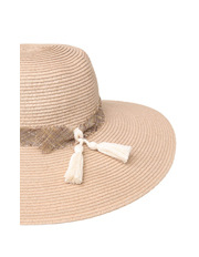 Gregory Ladner - Paper Braid Hat with Frayed Linen Band and Tassels
