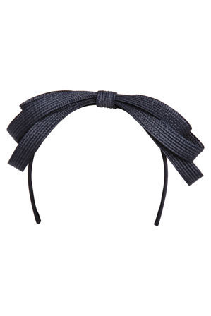 Collection - 'ELLY' Black Satin Flat Bow on Headband with Hailspot Veiling