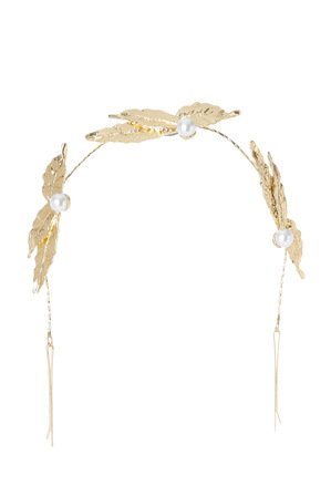 Collection - Metal Leaf Garland with Pearl Trim