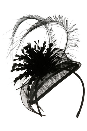 Gregory Ladner - Sinamay Pad with Cut Feather Plume and Sinamay Leaves