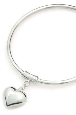 Von Treskow - Sterling Silver 3mm Bangle with Small Puffy Heart