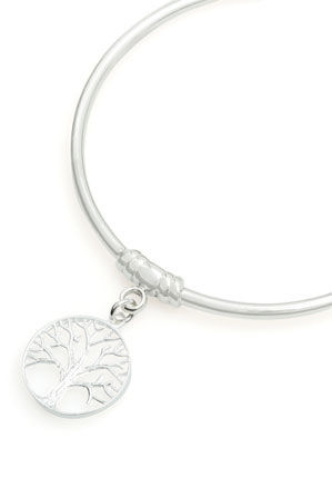 Von Treskow - Sterling silver 3mm bangle with small Tree Of Life charm