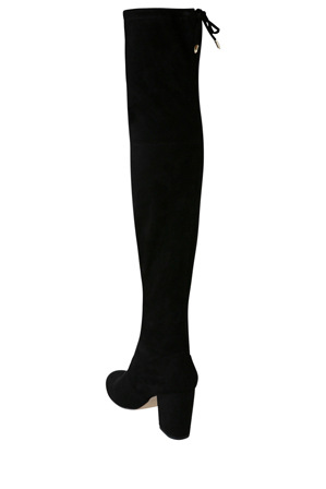 Miss Shop - Bold Black Micro Over The Knee Boot