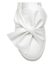 Miss Shop - Hayley White Smooth Bow Sneaker